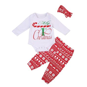 Newborn Infant Kid Girl Christmas Romper Jumpsuit Clothes Outfit+ Pant+Band First Christmas Outfit