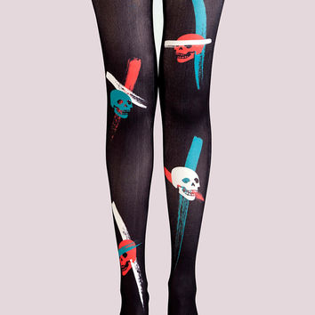 Black Skull Print High Waist Tights