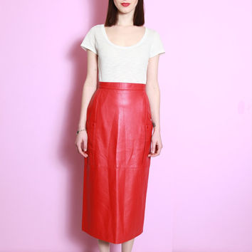 Vintage 1980's Perforated Red Leather A Line Skirt