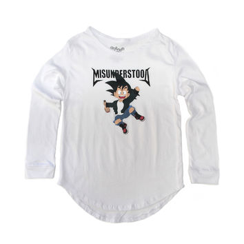 Entree Kids Goku Scallop White Long Sleeve Shirt - Last One!