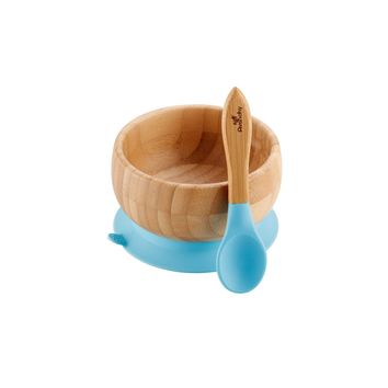 Blue Avanchy Bamboo Suction Baby Bowl + Spoon