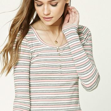 Ribbed Knit Striped Henley