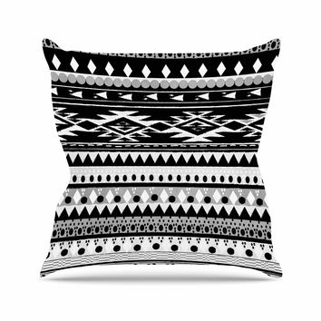 "Nika Martinez ""Black Hurit"" Gray White Outdoor Throw Pillow"