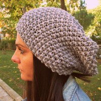 Grey slouchy beanie,Grey handmade hat,gray knit hat,grey knitting hat,woman hat,man hat,winter accessories,