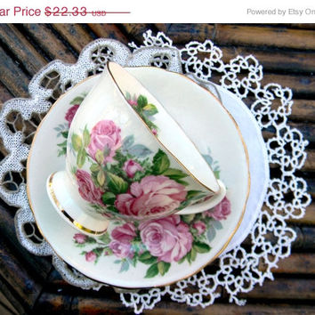 SALE Clarence Footed Tea Cup Teacup and Saucer England - Shabby Roses 10836