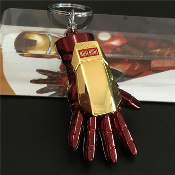 Avengers Super Hero Iron Man Keychain KeyRings Accessories Big Hand Key Chains Purse Bag Buckle Car Key Holder Souvenir Jewelry