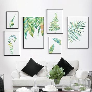 SURE LIFE Nordic Modern Green Leaf Plant Poster Canvas Paintings Print Wall Art Pictures for Living Room Home Office Decorations