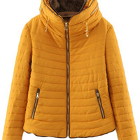 Yellow Quilted Zipper Pockets Hooded Coat