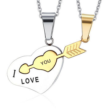 Fashion Korean Couple Necklaces Set Pendant Necklace Engrave I Love You Matching Hearts Arrow 316L Stainless Steel