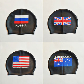 USA Russia Flag Swimming Cap Silicone Waterproof UK AU Swim Caps Men & Women Swiming Hat