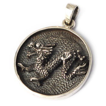 Vietguild's 92.5 Sterling Silver Year of the Dragon Pendant Charm