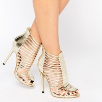 Daisy Street Caged Gladiator Gold Heeled Sandals