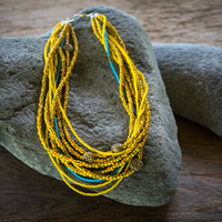 Yellow jacket, African necklace, Yellow statement necklace, Yellow necklace, Trade bead necklace, African necklace, Ethnic necklace, Beaded
