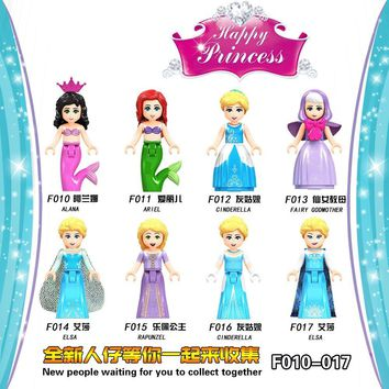 Cool For Legoing Friends for Girls Figures Snow White Ice Queen Anna Princess Mermaid beast Building BlockS Toys Legoings Kits BricksAT_93_12