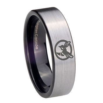 8MM Silver Black Honey Bee Pipe Cut Tungsten Carbide Laser Engraved Ring