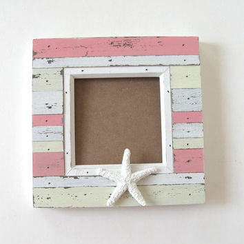 "Pink Starfish Photo Frame, Whitewashed Beach Cottage Decor, 7"" x 7"", Home and Living, Wedding"