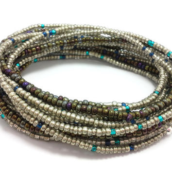 Seed bead wrap stretch bracelets, stacking, beaded, boho anklet, bohemian, stretchy stackable multi strand, metallic silver brown blue teal