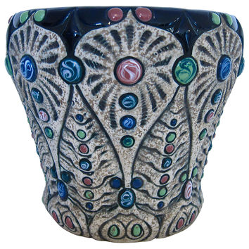 Large Amphora Ceramic Jeweled Jardinière
