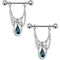 Blue Zircon Teardrop Chain Dangle Nipple Ring Set