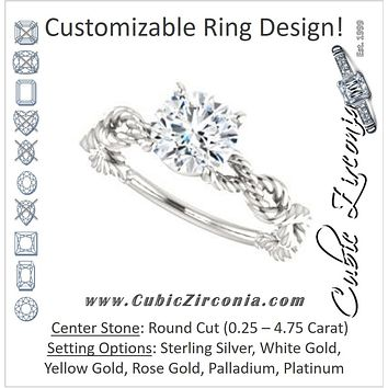 Cubic Zirconia Engagement Ring- The Jazzlyn (Customizable Round Cut Solitaire with Infinity-inspired Twisting-Rope Split Band)