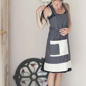Grey and white linen apron, Pinafore cross back apron, Natural linen, Eco friendly