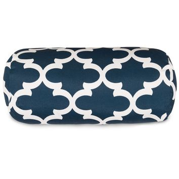 Navy Trellis Round Bolster Pillow