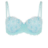Mint Green Floral Embroidered Strapless Bra