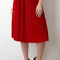 Velvet Accordion Pleat High Waist Skirt