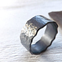 black wave ring - very wide silver ring - 10mm to 13mm wide  - hammered silver ring - rustic mens ring - rustic wedding ring