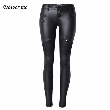 Female Large Size High Elastic Thin Faux Leather Leggings Trousers  Imitation Leather Ladies Pants Skinny Pencil Slacks YN340