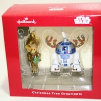 Licensed cool Star Wars Hallmark R2D2 REINDEER ANTLERS C3PO Holiday Christmas Ornament Disney