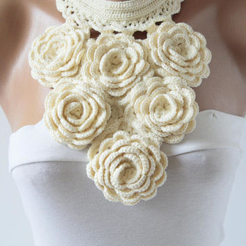 New Necklace cream colored  necklace Bib necklace necklace Flower necklace Crochet necklace Fashion jewellery Statement Crochet Designs