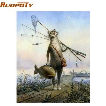 RUOPOTY Cat Fishing Animals Diy Digital Painting By Numbers Kit Drawing Paint By Numbers Wall Art Unique Gift For Children 40X50