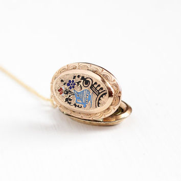 Antique Victorian Enamel Banjo Flower Locket Pendant Necklace - Rare 1880s Rose Gold Filled Photo Picture Mourning Fob Flower Jewelry