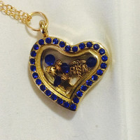 Angel RN Lvn Sapphire Blue And Gold Floating Charm Locket