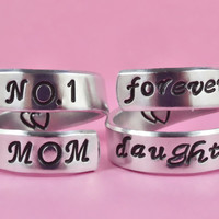 [♡013] NO.1 MOM/forver daughter - Hand Stamped Aluminum Rings, Mother Daughter Rings, Mother Day Gift