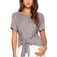 LNA Baseball Drape Tee in White & Heather Grey