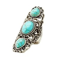 Silver Turquoise Triple Stone Statement Ring by Charlotte Russe