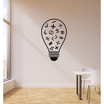 Vinyl Wall Decal Math Lightbulb Primary School Class Decor Interior Stickers Mural (ig5882)