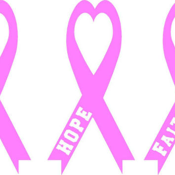 Love hope faith save the tata cancer awareness month  Color Ribbons set  Vinyl car home decal DIY   Free shipping