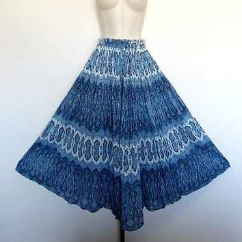Vintage Ethnic Sheer INDIA GAUZE Ocean Blue Gypsy Boho Hippie Festival Maxi Skirt