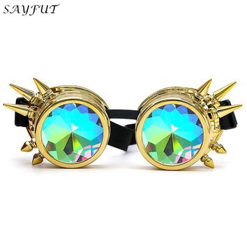 Rivet Steampunk Goggles Kaleidoscope Rainbow Crystal Lenses Cosplay Vintage Glasses Welding Men Women Gothic Cool Eyewear