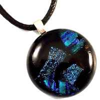 Sparkling Green Dichroic Glass Pendant on Black, Fused Glass Jewelry