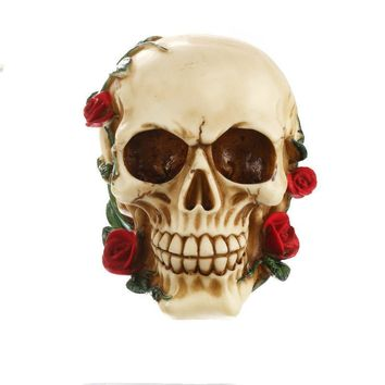 Skull Skulls Halloween Fall Resin  Ornament Bite Red Rose Statue Sculpture Home Decoration Valentine's Day Gift Office Decoration Gift Calavera