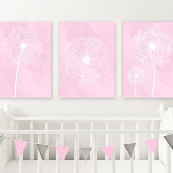 DANDELION NURSERY ART, Pink Nursery Wall Decor, Watercolor Dandelions, Canvas or Print, Girl Bedroom Pictures, Pink Bathroom Decor, Set of 3