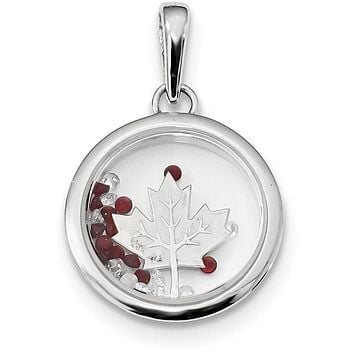 Sterling Silver Rhodium-plated Leaf & Floating Glass Beads Pendant QP2866