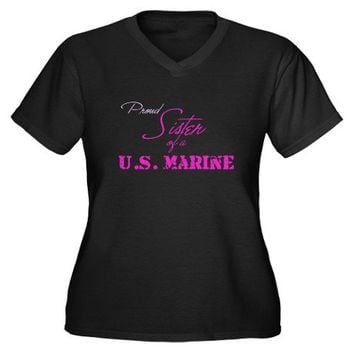 Proud Sister U.S. Marine Rifl Women's Plus Size V- on CafePress.com