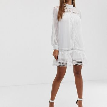 Missguided Exclusive shift dress with high neck and crochet trim in white | ASOS