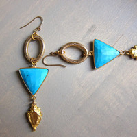 Turquoise STatement Earrings, Large Turquoise EArrings, Turquoise and Gold Earrings, Arrowhead Earrings, Geometric Earrings, Big Earrings