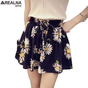 Womens New Summer High Waist Floral Skirt Shorts